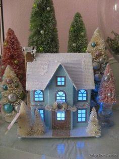 ViNtAgE PUTZ Style GLITTER GLAM AQUA CHRISTMAS Lighted House BOTTLE BRUSH TREES