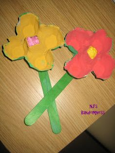 Four section of egg carton, tissue paper for center of flower, craft stick.