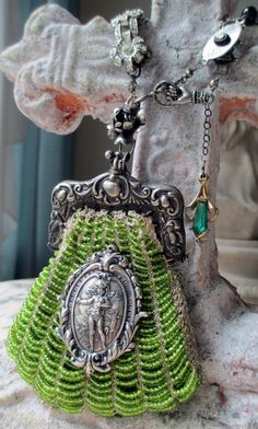 'lucky' vintage assemblage necklace with beaded by purse by The French Circus on Etsy