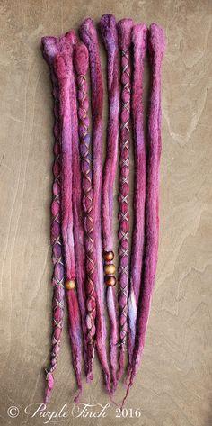 10 Grape Tie-Dye Wool Synthetic Dreadlock von PurpleFinchStore