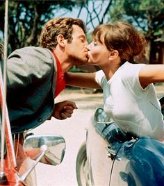 Jean-Paul Belmondo & Anna Karina kissing in cars, 'Pierrot Le Fou,' 1965