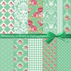 Rhapsody in Green - Instant Download, Digital Scrapbooking Paper, Floral paper, shabby chic, decoupage paper, watercolor roses, green paper