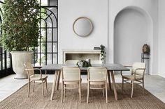 Comfortable Prague Cane Dining Chairs ‰ۡóÁÌÎ̝ÌÎÌÕ For A Light & Fresh Look Rustic Dining Chairs, Concrete Dining Table, Rectangle Dining Table, Dining Arm Chair, Dining Rooms, Dining Table Rug, Dining Decor, Dining Area, Rustic Furniture