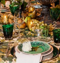 Ashley-Whittaker's table, Michael Smith's Jasper Grace fabric in willow and Baccarat Vega crystal in a rich bottle green--via quintessence