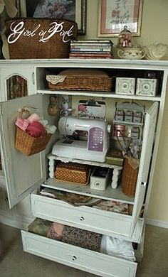 Outdated Media Cabinet, with a little paint,  turned into Craft Storage-brilliant!
