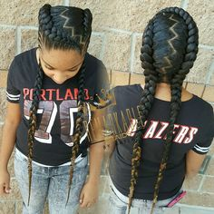 Two feed-in braids with small cornrows on the sides she say it remind her of hairstyles. Can't wait to start doing her hair Two feed-in braids with small cornrows on the sides she say it remind her of hairstyles. Can't wait to start doing her hair Small Cornrows, Small Braids, 2 Braids With Weave, Small Feed In Braids, Box Braids Hairstyles, Black Hairstyles, Teenage Hairstyles, Teenage Girl Haircuts, Long Hairstyle