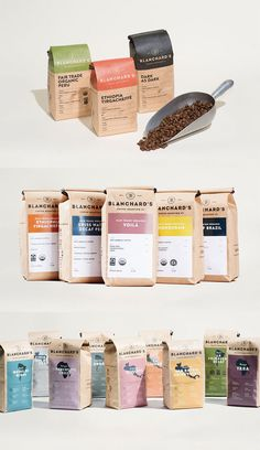 Showcase of Creative Packaging Designs for Coffee Brands - Blanchard's Coffee Company by Skirven & Croft - Food Packaging Design, Coffee Packaging, Packaging Design Inspiration, Coffee Labels, Rice Packaging, Chocolate Packaging, Bottle Packaging, Beer Labels, Coffee Photos