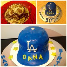 LA Dodgers cake made for my husbands 50th bday. Cake is geran chocolate filled with cream cheese frosting and covered in fondant.