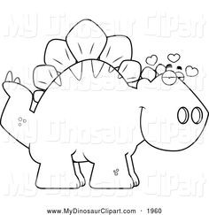 Clipart of a Black and White Infatuated Stegosaurus Dinosaur