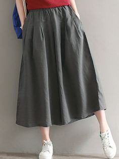 Daily Women's Basic Soild Color Loose Soft Pants in 2020 Outfits For Teens, Stylish Outfits, Fashion Pants, Fashion Outfits, Women Clothing Stores Online, Soft Pants, Skirt Patterns Sewing, Japan Fashion, Modest Fashion