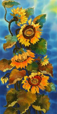 Original art for sale at UGallery.com | Sunflowers by Yelena Sidorova | $750 | mixed media artwork | 36 h x 18 w | http://www.ugallery.com/mixed-media-artwork-sunflowers