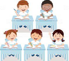 Vector illustration of school kids studying in the classroom Kids school Kids study Vector illustration