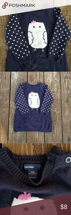 Baby gap sweater dress Perfect condition sweater dress in 18-24 months. Blue and white. Two buttons on collar. GAP Shirts & Tops