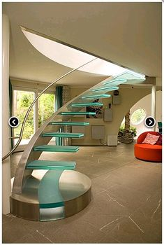Glass Stairs Ideas the Stunning Beauty Of Glass Staircase Designs Painted Staircases, Painted Stairs, Spiral Staircase, Staircase Design, Staircase Ideas, Stair Design, Floating Staircase, Stair Steps, Stair Railing