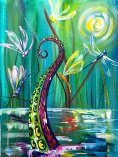 Kevin The Kraken Acrylic Painting. A single tentacle rises up out of pond Searching for Fun. From the Youtube tutorial by the Art Sherpa