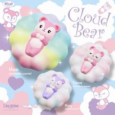 New adorable cloud bear squishy from ibloom. 3 different bears floating on a cloud squishy. Comes in original packaging. Toys For Girls, Kids Toys, Ibloom Squishies, Girls Nail Designs, Cute Marshmallows, Cute Squishies, Cube Toy, Musical Toys, Line Friends