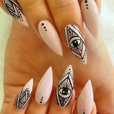 Best Stiletto Nail Art Designs 2019 - Page 23 of 33 - Chic Hostess Stiletto Nail Art, Nude Nails, Acrylic Nails, Stiletto Nail Designs, Uv Gel Nails, Nail Nail, Pointed Nails, Top Nail, Colorful Nails