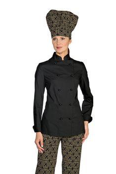 GIACCA CUOCO DONNA CHEF ISACCO LADY EXTRA LIGHT NERA FEMMINILE shirt JACKET 8b940204d194