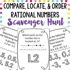 This compare, locate, and order rational numbers scavenger hunt allow… Math Resources, Math Activities, Homeschooling Resources, Real Number System, Sixth Grade Math, Irrational Numbers, Math 8, Math Questions, Math Classroom