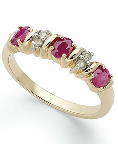 14k Gold Ring, Ruby (3/4 ct. t.w.) and Diamond Accent Ring