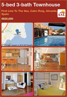 Townhouse for Sale in First Line To The Sea, Cabo Roig, Alicante, Spain with 5 bedrooms, 3 bathrooms - A Spanish Life South Facing Garden, Alicante Spain, Double Bedroom, Murcia, Jacuzzi, Open Plan, Cabo, Dining Area, Townhouse