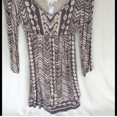 Aztec Print Dress from Dillard's by Nurture Beautiful Aztec Print Dress by Nurture,  beautiful grays & cream, purchased from Dillard's. Great with tights & boots, leggings & jeans. Excellent Condition. Nurture Dresses