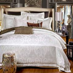 high quality white tribute satin luxury bedding set jacquard wedding cotton bed linens pillowcase duvet cover set for gifts