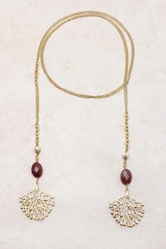 Garnet Lariat Wrap Necklace on Emma Stine Limited