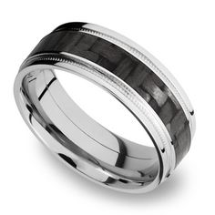 Stepped Edges Carbon Fiber Inlay Men's Wedding Ring with Milgrain Accent in White Gold Mens Wedding Rings Tungsten, Engagement Rings For Men, Black Rings, Natural Emerald Rings, Blue Nile, Moissanite, Diamond Wedding Bands