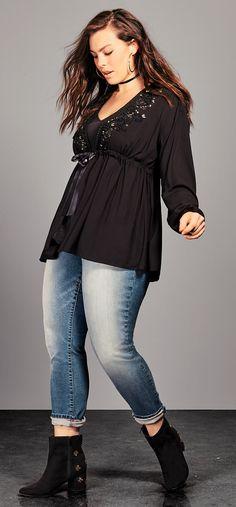 Plus Size Tie Front Top - Plus Size Fashion for Women #plussize