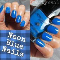 Neon Blue Nails by Craftynail