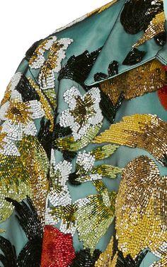 Embellished Satin Shirt by Richard Quinn Tambour Embroidery, Couture Embroidery, Embroidery Fashion, Couture Details, Fashion Details, Fashion Design, Lesage, Satin Shirt, Hand Embroidery Designs