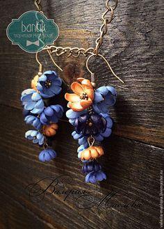 Браслеты ручной работы. Ярмарка Мастеров - ручная работа Браслет с цветами из полимерной глины синие винтажные. Handmade.