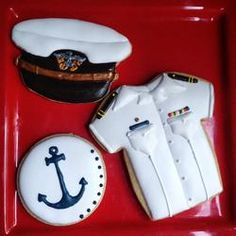 - Naval Academy Cookies by Mrs. Mother's Day Cookies, Fancy Cookies, Iced Cookies, Royal Icing Cookies, Sugar Cookies, Edible Cookies, Galletas Cookies, Anchor Cookies, Military Cake