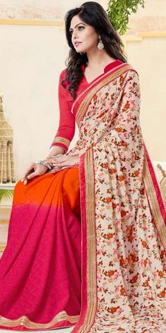 Abstracting Pink And Orange Crepe Printed Saree With Blouse.