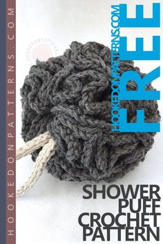 Shower Puff Free Crochet Pattern, part of the Bathroom Spa Gift Set from Hooked On Patterns. Visit for the FREE crochet patterns for the Shower Puff, Washcloth, Soap Scrub, and Headband!
