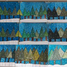 """Heute gibt es noch einmal Schülerarbeiten 🎨🖌... hier zum Thema """"GEOMETRISCHE WINTERBÄUME"""". Die Drittklässler 👧🏻👦🏼 haben beim Aufkleben der Punkte schnell gemerkt, dass man als Künstler 👨🎨👩🎨 auch Geduld haben muss. Aber die Mühe hat sich gelohnt...😍 #kunststunde #kunstfürkinder #kunst #grundschule #grundschulekunst #ideenfürdenkunstunterricht #ideenfürkunst #winterwald #winter #schnee #wasserfarben #kunsterziehung #primaryschool #schrittfürschritt #snow #arteducation #artforkids…"""