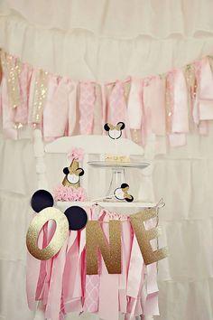 Rosa y diadema de oro Minnie Mouse cumpleaños por JustUsCelebrating