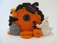 Polymer Clay Halloween Fairy Door by ImaginationsInClay on Etsy, $18.00