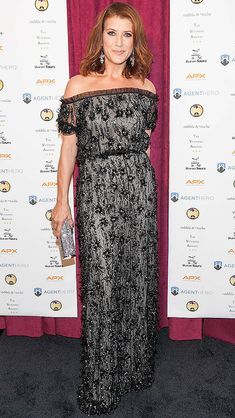 KATE WALSH  |  wears an off-the-shoulder black lace gown by Naeem Khan and silver clutch to the Inaugural Veterans Awards in Washington, D.C.  |  Teresa Kroeger/Getty   Updated: Thursday Nov 12, 2015