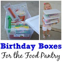 Birthday Box Ideas - I Can Teach My Child! Service Projects For Kids, Community Service Projects, Service Ideas, Girl Scout Silver Award, Homeless Care Package, Blessing Bags, Charity Gifts, Birthday Bag, 50th Birthday