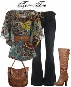 Pretty top but I wouldn't wear the belt!  Like the boots and purse also but would wear straight leg pants.