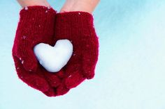 Red Mittens and a Snow Heart