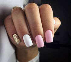 What manicure for what kind of nails? - My Nails Gold Gel Nails, Pink Manicure, Best Acrylic Nails, White Nails, My Nails, Shellac, Glitter Nails, Coffin Nails, Stylish Nails