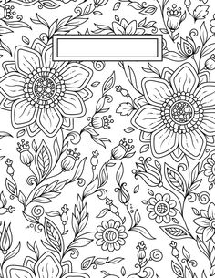 These back to school binder cover adult coloring pages have a multitude of great uses. These adult coloring pages are perfect for binder covers, wall art, and even cards if you print them on nice stock. Coloring Pages To Print, Coloring Book Pages, Printable Coloring Pages, Coloring Pages For Kids, Coloring Sheets, School Binder Covers, School Book Covers, Binder Covers Free, Binder Cover Diy