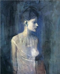 Portrait of seniora Soler (Girl in a chemise) - Pablo Picasso.  Blue Period 1903.