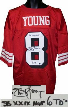 Steve Young signed San Francisco 49ers Red Prostyle Jersey Shadow Number  SBMVP 6TD s .  362.52 2654a7d30