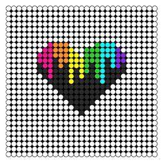 Melting Rainbow Heart Perler Bead Pattern   Bead Sprites   Misc Fuse Bead Patterns