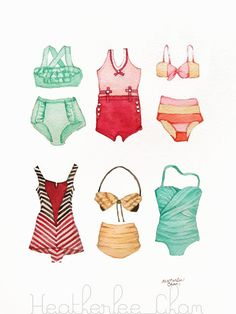 Vintage Bathing Suits Painting Watercolor Print by ladypoppins