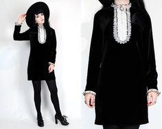 Vtg 60s Black Velvet Tuxedo Bib Ruffled Babydoll Mod Goth Mini Dress M